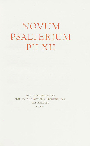 NOVUM PSALTERIUM PII XII
