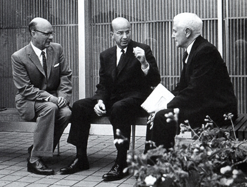 Photograph of Dean McHenry and Clark Kerr with Regent Donald McLaughlin