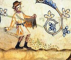 MARGINAL ILLUSTRATION OF PASTORAL LIFE FROM THE LUTTRELL PSALTER