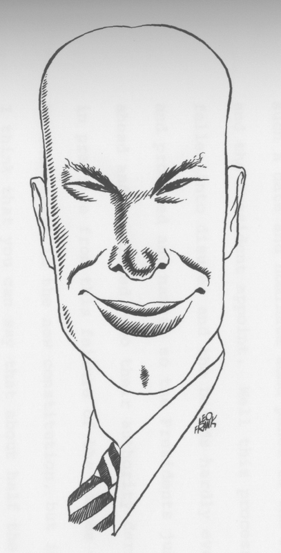 Caricature of Dean McHenry drawn by Leo Frank for the UCLA Daily Bruin. 1931-32