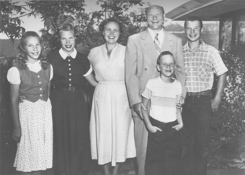 The McHenry family at their home in Westwood, 1952. Left to right: Nancy, Sally, Jane Snyder McHenry, Dean E. McHenry, Henry, and Dean