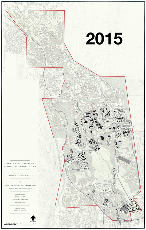 2015 campus map superimposed on 1963 LRDP plan