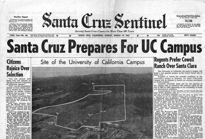 Front Page,<em>Santa Cruz Sentinel</em>