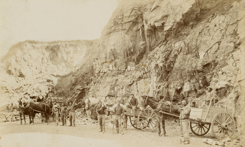 Cowell Lime Works: men in quarry