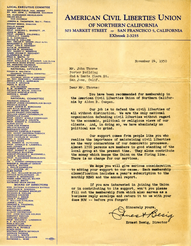 American Civil Liberties Union (ACLU) Letter Inviting Thorne to Become a Member (1950).