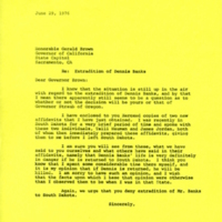 John Thorne Letter to California Governor Jerry Brown (1976)