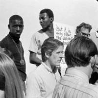 UC Regents' meeting at Crown College: student protesters. October 17, 1968.