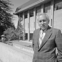 Kenneth V. Thimann, in front of Natural Sciences I, renamed Thimann Laboratories in his honor. 1972.