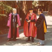 Cowell Provost Page Smith, Crown Provost Kenneth Thimann, Professor Edward Landesman.