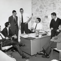 "Division of Natural Sciences faculty: James Currin, physics; Robert Thornton, biology graduate student; Stanley Williamson, chemistry; Herman Ammon, chemistry; William ""Bill"" Doyle, biology; Charles Daniel, biology; Todd Newberry, biology. 1965."