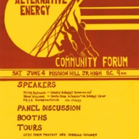 Alternative Energy Community Forum. Poster. Alternative Energy Collective. Late 1970s.