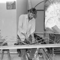 "Tirso de Molina's ""El burlador de Sevilla"", directed by Paul Whitworth, in the Performing Arts Theater: unidentified set construction worker. 1985."