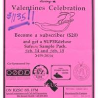 KZSC Valentine's Celebration and Fundraiser for Safe Sex (with Sammy the Safe Sex Slug). Circa 1991