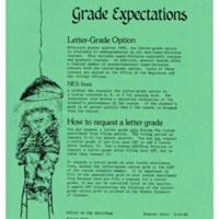 Grade Expectations. Letter Grade Option. Flyer. Office of the Registrar. 1982.