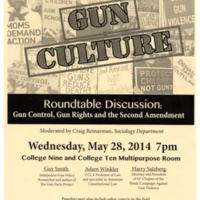 Gun Culture roundtable program. College Nine and College Ten. Flyer. 2014.