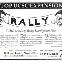 Poster for rally to stop UCSC expansion. Circa 2007.