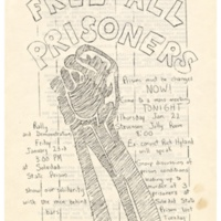 Free all Prisoners flyer, Soledad Brothers. 1970.