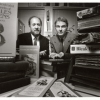 Murray Baumgarten (l) and John Jordan (r) co-founders of Dickens Project. 1986