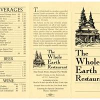 Whole Earth Restaurant menu. Circa 1980s.