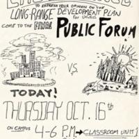 Long Range Development Plan public forum. anti-growth. Flyer. Circa 1990s.