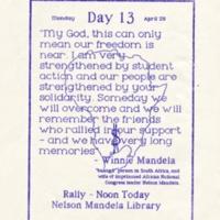 Anti-apartheid Protest Day 13. Flyer. April 1985.