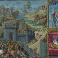 Half-page miniature of the Capture of Jerusalem by the Saracens.  Smaller miniatures on the right side this page show the Dream of Constantine V (fol.6r)