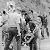 UC Santa Cruz student strike: students distributing food. 1969.