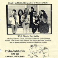 Reading for Haciendo Caras: Making Face, Making Soul: Creative and Critical Perspectives by Women of Color, edited by Gloria Anzaldua. 1990.