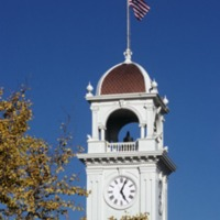 Loma Prieta Earthquake. Santa Cruz Town Clock Tower stopped at the time of the earthquake 5:04 PM. 1989.