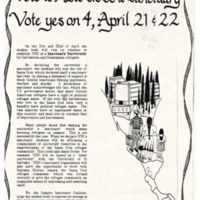 Vote to Make UCSC a Sanctuary City for Salvadorean and Guatemalan refugees. Flyer. Circa 1980s.