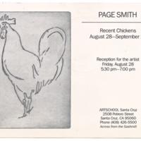 "Announcement for Page Smith's ""Recent Chickens"" exhibit, Art School Santa Cruz, 1970s."