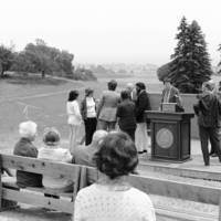 College 7 (Oakes College) dedication: attendees at the future site of the college, with Daniel Koshland, Sr., and Herman Blake at the left of the podium
