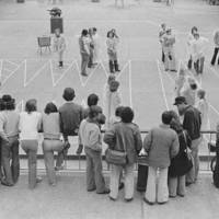 Cowell Culture Break: Cowell College human backgammon. 1980.