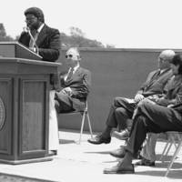 College 7 (Oakes College) dedication: Herman Blake, founding provost, at the podium