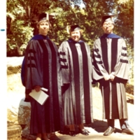 Langenheim with students Bue Martin and Y.T. Lee following UCSC commencement