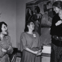 Photo of Dolores Huerta, Gloria Steinem, and Ciel Benedetto at the UCSC Women's Center. Circa 1989.