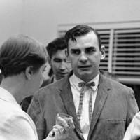 Stevenson College faculty party: N. Manfred Shaffer, professor of geography, with unidentified others. 1966.