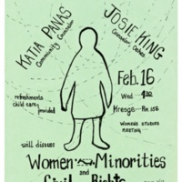 Women and Minorities and Civil Rights. Talk with UCSC counselors Josie King and Katia Panas. Poster. Circa late 1970s.