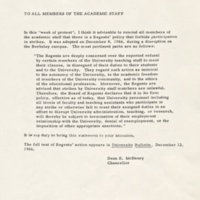 Memo from Dean McHenry to faculty regarding participation in UCSC strike. April 22, 1968.