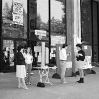 Student occupation of the McHenry Library foyer to protest apartheid South Africa, April 1985.