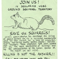 """Save the Squirrels"" from poison control flyer. Circa 1980s."