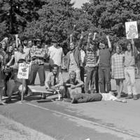 UC Santa Cruz student strike: students on the road. 1969.
