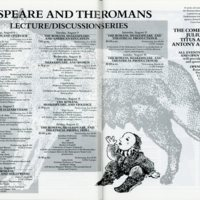 Shakespeare and Theromans Lecture/Discussion Series schedule in 1988 festival program