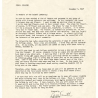 Letter from Page Smith re: dogs on campus. November 1, 1967.