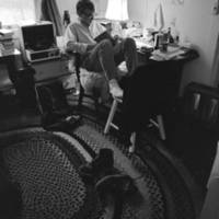 Cowell College dormitory: student in a dorm room. 1967.