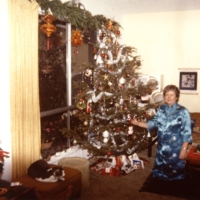 Langenheim in her home during graduate student Christmas party