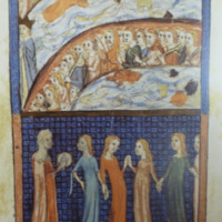 The Sarajevo Haggadah, The Miracle of the Red Sea and Miriam with the daughters of Israel, f. 28r