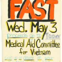 FAST (Medical Aid Committee for Vietnam) handmade poster. 1976.
