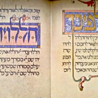 The Sarajevo Haggadah, Decorated word panels within text, ff. 28v-29r