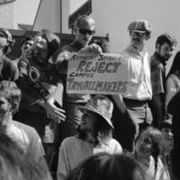 UC Regents' meeting at Crown College: student protesters. October 1968.
